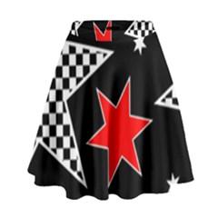 Stars Seamless Pattern Background High Waist Skirt