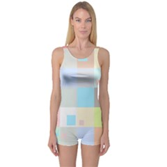 Pastel Diamonds Background One Piece Boyleg Swimsuit