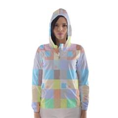 Pastel Diamonds Background Hooded Wind Breaker (women)