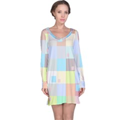 Pastel Diamonds Background Long Sleeve Nightdress