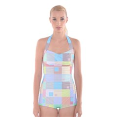 Pastel Diamonds Background Boyleg Halter Swimsuit
