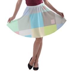 Pastel Diamonds Background A Line Skater Skirt