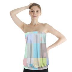 Pastel Diamonds Background Strapless Top