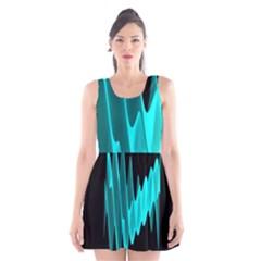 Wave Pattern Vector Design Scoop Neck Skater Dress