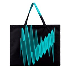 Wave Pattern Vector Design Zipper Large Tote Bag
