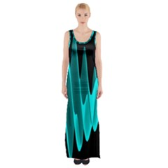 Wave Pattern Vector Design Maxi Thigh Split Dress