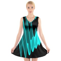 Wave Pattern Vector Design V Neck Sleeveless Skater Dress