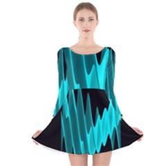 Wave Pattern Vector Design Long Sleeve Velvet Skater Dress