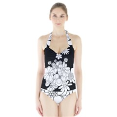 Mandala Calming Coloring Page Halter Swimsuit