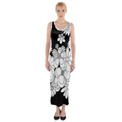 Mandala Calming Coloring Page Fitted Maxi Dress