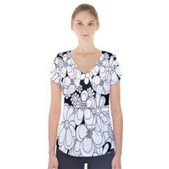Mandala Calming Coloring Page Short Sleeve Front Detail Top