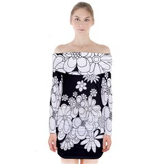 Mandala Calming Coloring Page Long Sleeve Off Shoulder Dress