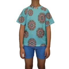 Circle Vector Background Abstract Kids  Short Sleeve Swimwear