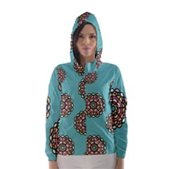 Circle Vector Background Abstract Hooded Wind Breaker (Women)