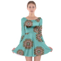Circle Vector Background Abstract Long Sleeve Skater Dress