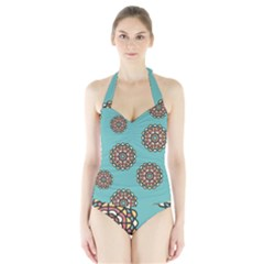 Circle Vector Background Abstract Halter Swimsuit