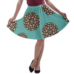 Circle Vector Background Abstract A-line Skater Skirt