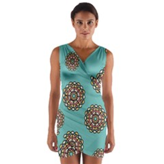 Circle Vector Background Abstract Wrap Front Bodycon Dress