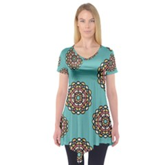 Circle Vector Background Abstract Short Sleeve Tunic