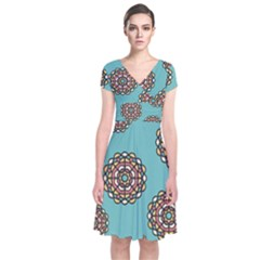 Circle Vector Background Abstract Short Sleeve Front Wrap Dress