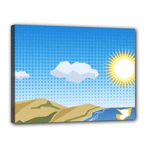 Grid Sky Course Texture Sun Canvas 16  x 12
