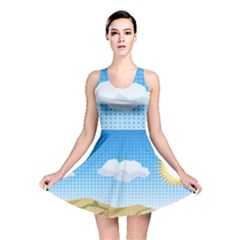 Grid Sky Course Texture Sun Reversible Skater Dress
