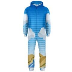 Grid Sky Course Texture Sun Hooded Jumpsuit (men)