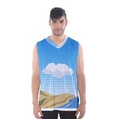 Grid Sky Course Texture Sun Men s Basketball Tank Top