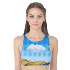 Grid Sky Course Texture Sun Tank Bikini Top