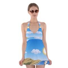 Grid Sky Course Texture Sun Halter Swimsuit Dress