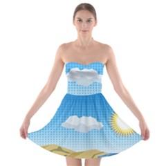 Grid Sky Course Texture Sun Strapless Bra Top Dress