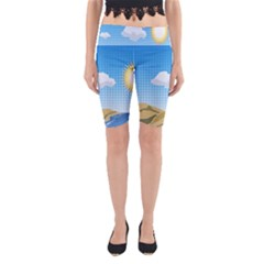 Grid Sky Course Texture Sun Yoga Cropped Leggings