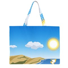 Grid Sky Course Texture Sun Large Tote Bag
