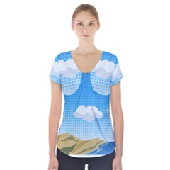 Grid Sky Course Texture Sun Short Sleeve Front Detail Top