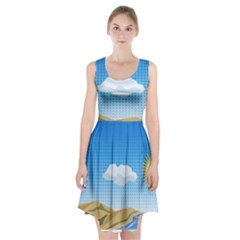 Grid Sky Course Texture Sun Racerback Midi Dress