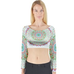 Flower Abstract Floral Long Sleeve Crop Top
