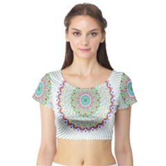 Flower Abstract Floral Short Sleeve Crop Top (tight Fit)