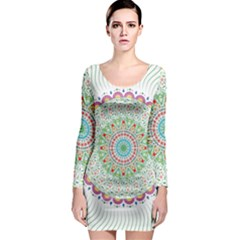 Flower Abstract Floral Long Sleeve Bodycon Dress