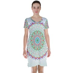 Flower Abstract Floral Short Sleeve Nightdress