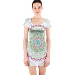 Flower Abstract Floral Short Sleeve Bodycon Dress