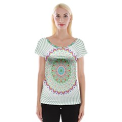 Flower Abstract Floral Women s Cap Sleeve Top