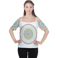 Flower Abstract Floral Women s Cutout Shoulder Tee