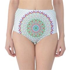 Flower Abstract Floral High Waist Bikini Bottoms
