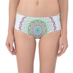 Flower Abstract Floral Mid-Waist Bikini Bottoms