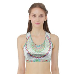 Flower Abstract Floral Sports Bra with Border