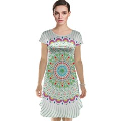 Flower Abstract Floral Cap Sleeve Nightdress
