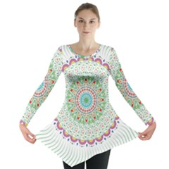 Flower Abstract Floral Long Sleeve Tunic