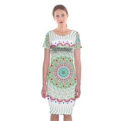Flower Abstract Floral Classic Short Sleeve Midi Dress