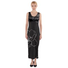 Rose Wild Seamless Pattern Flower Fitted Maxi Dress