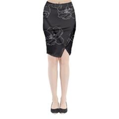 Rose Wild Seamless Pattern Flower Midi Wrap Pencil Skirt